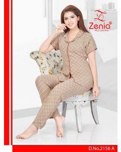 Zenia ALPINE Front Open FULL NIGHT SUIT - (2156)