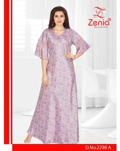 Zenia SATIN 3/4th Sleeves FULL NIGHTY - (2298)