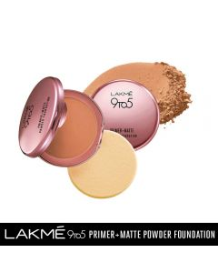 LAKME 9 TO 5 PRIMER WITH MATTE POWDER FOUNDATION COMPACT, NATURAL ALMOND, 9G