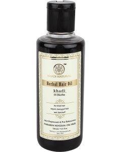 KHADI NATURAL AYURVEDIC 18 HERBS HAIR OIL, PARABEN AND MINERAL OIL FREE, 210ML