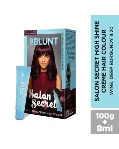 BBLUNT Salon Secret High Shine Creme Hair Colour - Wine Deep Burgundy 4.20, 100GM