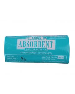 JAYCOT ABSORBENT COTTON WOOL I. P INTERLINED - NET ABSCOTTONWOOL NE 400 GRAMS
