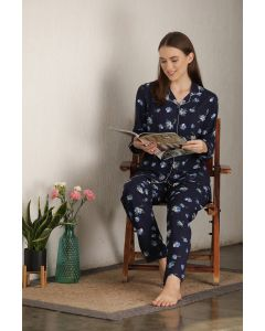 PRIVATE LIVES RAYON FULL NIGHT SUIT - NAVY BLUE (NS0606)