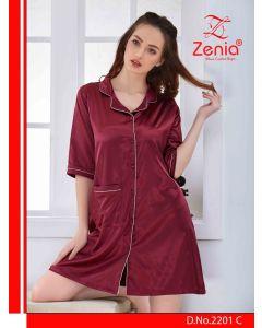 Zenia SATIN Front Open SHORT NIGHTY - (2201)