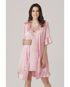 PRIVATE LIVES SATIN 2PC NIGHTIES - BABY PINK (ST0209)